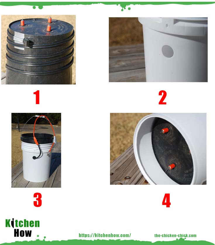 Heated bucket chicken nipple waterer