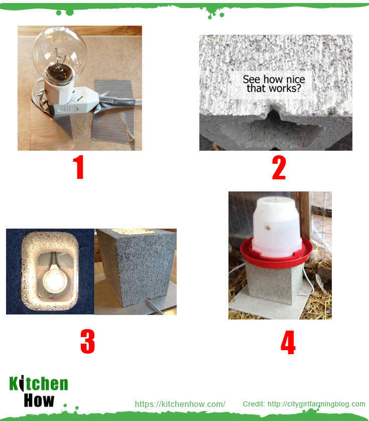 Light bulb heater – concrete block